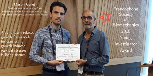 Martin Genet just received the Young Investigator Award from the Francophone Society of Biomechanics